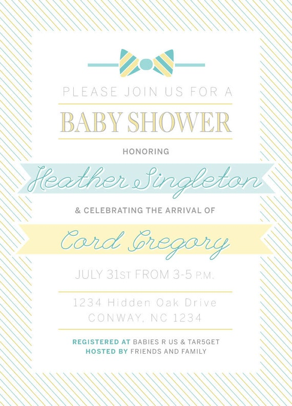 items similar to duck or bow tie baby shower invitation on etsy
