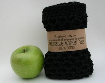 Farmers Market Bag - Reusable Cotton Grocery Tote -  Black