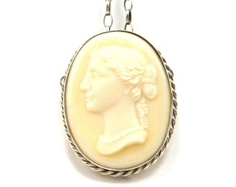 Vintage Cameo Pendant Brooch Necklace 1940s Oval Lucite Faux Ivory Sterling Silver Chain Mothers Day