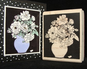 peonies in a vase rubber stamp