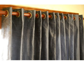"Dull Blue Silk Curtain 52""x84"" Grommet Drapes Home And Living Bedroom Decor And Housewares Valance Window Treatments Blackout Curtain Panels"