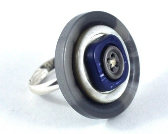 Upcycled Button Ring Gray and Blue Tones Statement Jewellery Gift