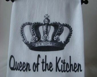 Queen of the Kitchen, Crown tea towel - Mothers day gift, Queen flour sack towel -Super cute gift