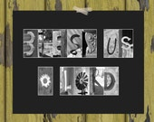 """Bless Us O Lord Letter Art Print - Inspirational / Christian / Religious / Catholic Art - 11 x 14"""" with Black and White Letter Photos"""