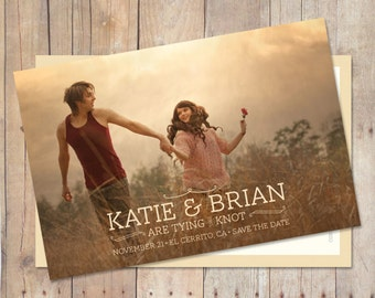 Wedding Save The Date, Save The Date Postcard, Save The Date Card, Rustic Save The Date - Autumn