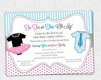 TuTus or Ties, Gender Reveal Baby Shower Party Invitation, Printable, Pink and Blue, One Pieces, Neck Tie,DIY Digital File