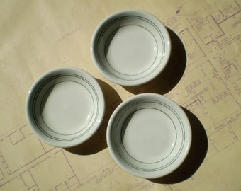 Small Vintage Shenango China Side Dishes - White with Green Lines or Stripes - Restaurantware - Circa 1950s