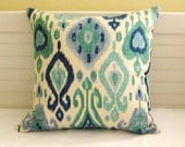 Django Ikat Design in Aqua and Blue  - Same Fabric on Both Sides- Pillow Cover - SewSusieDesigns