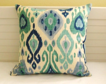 Django Ikat Design in Aqua and Blue Designer Pillow Cover - Square, Lumbar, Euro and Body Pillow Sizes