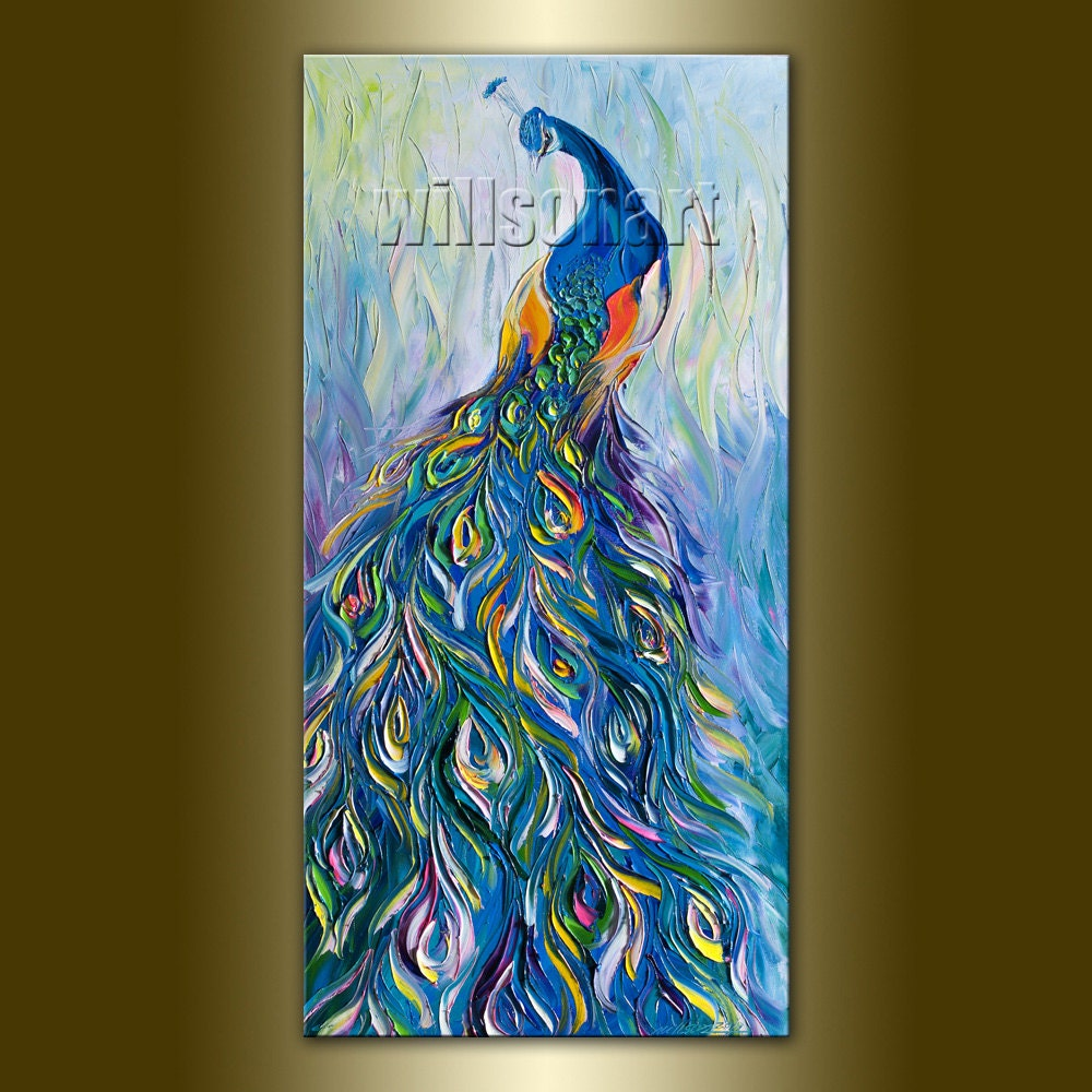 peacock oil painting on canvas