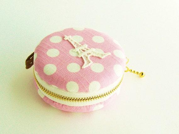 macaron Coin purse, Eiffel Tower Paris, lace pink Polka Dot macaroon,Jewelry pouch