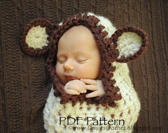 Crochet PDF PATTERN Hooded Baby Cocoon. Photo prop (034)