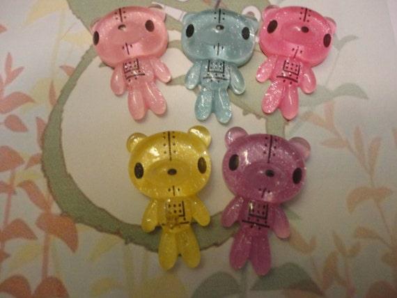 Kawaii cute robot bear cabochons   5 pcs