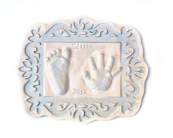 Newborn Baby Keepsake Prints - Ceramic Hand and Footprint - Baby's Personalized Nursery Decor -  Personalized Memorabilia  Keepsake of Baby