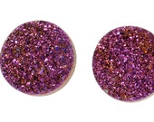 Grade AAA 2 Pieces Purple Round Calibrated Druzy Agate 18mm Cabochon B43DR2205