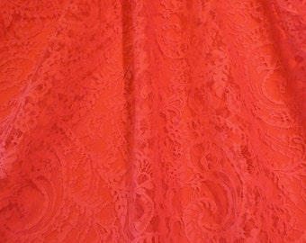 Light Red Paisley Design French Chantilly Lace Fabric--One Yard