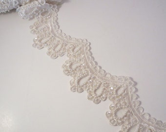 White Large Scallop Embroidered and Beaded Organza Trim--One Yard