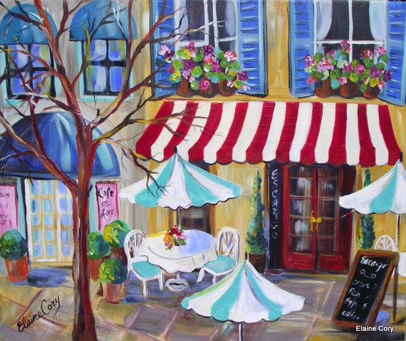 French Cafe City Scene Original Acrylic Painting 24 X 30 Art