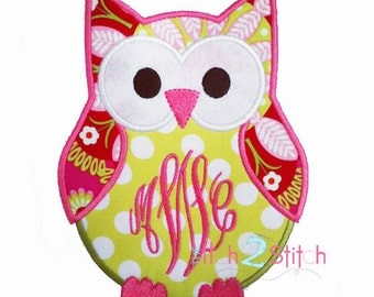 Monogram Owl Applique Design (monogram or font is not included ) in 4x4, 5x7 and 6x10 INSTANT DOWNLOAD now available
