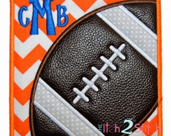 """Football Box Applique Design In Hoop Size(s)  4x4, 5x5 & 6x6, Shown with our """"Barnyard"""" Font NOT Included INSTANT DOWNLOAD now available"""