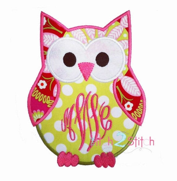 monogram owl applique design monogram or font is not included. Black Bedroom Furniture Sets. Home Design Ideas