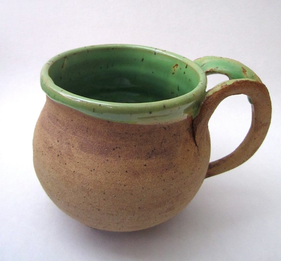 green coffee mug with handle, natures rustic pottery
