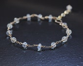 Ceylon Rainbow Moonstone Bracelet 14k Gold Filled - June Birthstone, Wire Wrapped, Delicate Chain, Adjustable