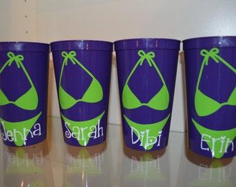 Personalized Bachelorette Cups, Set of 4 Tumblers, Beach,Bikini, Party Cups, Girls Weekend