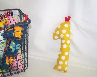 Baby Infant New Born Rattle Teething Toy Giraffe --Mustard Polka Dots -- FREE SHIPPING