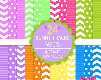 Digital Paper Pack Chevron Polka Dot Stripes Scrapbook Papers Bunny Tracks