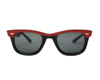 Red / Black Wayfarer Vintage Sunglasses - Stone Rojo - 50's rockabilly style