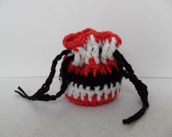 Cotton Coin Purse - Black Red and White - Money Dice Token Medicine Bag - Drawstring