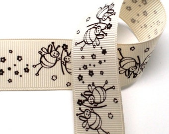 5Yards 25mm(1'') Ivory Bumble Bee Print Grosgrain Ribbon