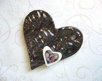 The Unusual - Dark Heart 3D Ceramic Pendant