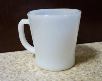 Vintage Fire King simple white mug 70s