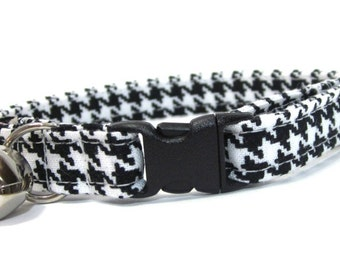 Black and White Houndstooth Cat Collar