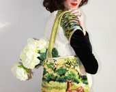 Tote bag in vintage canevas deer