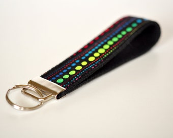 Key fob Key chain fabric wristlet - Black with neon bright green polka dot stripes