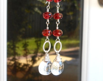 Long Dangle Garnet Earrings Crystal Quartz Earrings Sterling Silver Red Statement Earrings