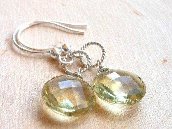 Sterling Silver Lemon Quartz Earrings, Gemstone Coin Earrings Simple Dangle earrings