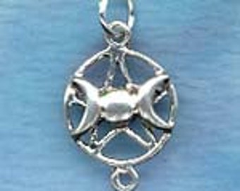 Triple Lunar Goddess Pentacle Link Charm With 2 Loops Sterling Silver P89-1