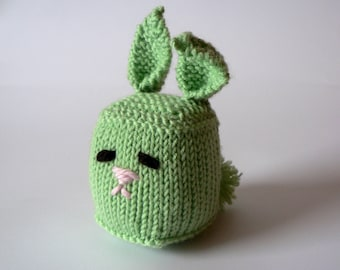 SALE Handknit Cuddly Cube Toy Bunny- Mint Green