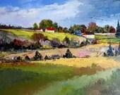 "Autumn Canadian landscape,  St-Augustin, Qc  gift, home decor,  Original oil painting on canvas (14"" X 18"") home decor"