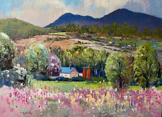 "Summer landscape  - Original Canadian oil painting on canvas(12"" X 16"") with palette knife Impressionist Landscape"
