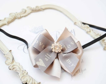 Baby Tiny Gary Printed Bow Headband with Rhinestones