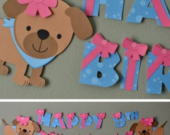 Puppy Dog Birthday Party Banner, Puppy Baby Shower - Party Decoration - CUSTOM Name/Age