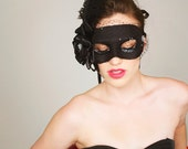 Black Masquerade Mask with veil and feathers