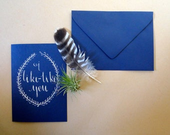 Nerdy Calligraphy Card - Blue and White