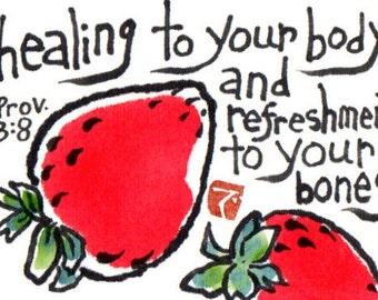 Healing Strawberries (Get Well Soon, Etegami Original)