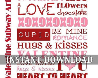 Valentine Subway Art - Printable INSTANT DOWNLOAD